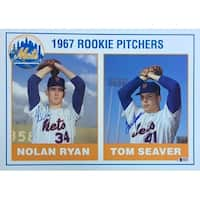 Nolan Ryan Tom Seaver Signed 11x14 New York Mets Rookie Pitchers Card Beckett