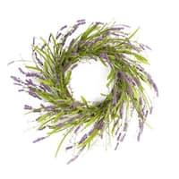 "Pack of 2 Artificial Blooming Springtime Lavender Flowers Wreaths 22"" - Purple"