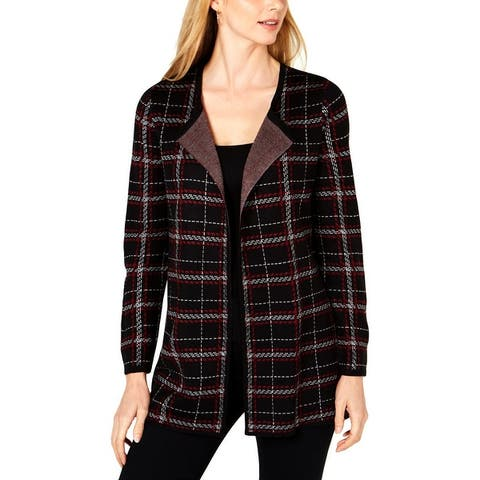 NY Collection Womens Petites Cardigan Sweater Printed Long Sleeves