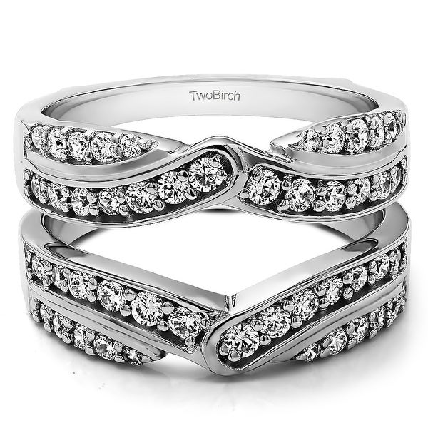 3/4 Ct. Infinity Bypass Engagement Ring Guard with Cubic Zirconia Mounted in Sterling Silver (Size 6, 7 or 8)