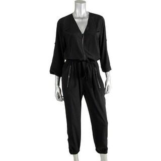 Pure DKNY Womens Silk Blend Adjustable Sleeves Jumpsuit