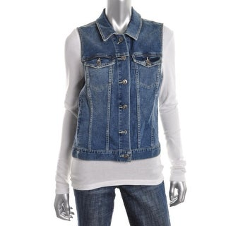 Two by Vince Camuto Womens Casual Vest Denim Collared - xL
