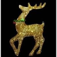 "34"" Pre-lit Gold Glittered Prancing Reindeer Christmas Outdoor Decoration"