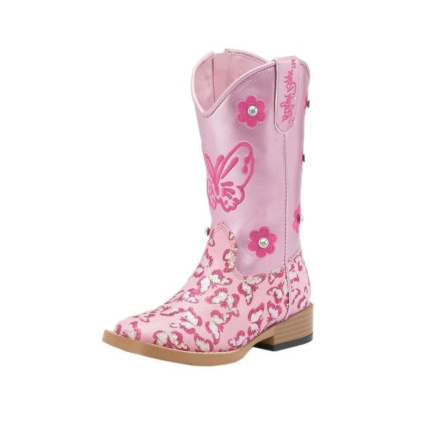 Blazin Roxx Western Boots Girls Pecos Cowboy Butterfly Pink