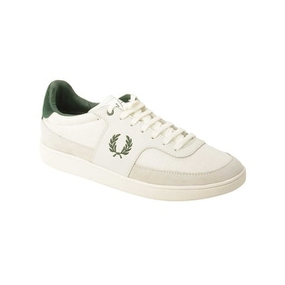 Fred Perry Mens Woodbank Nylon/Leather Sneaker in Porcelain