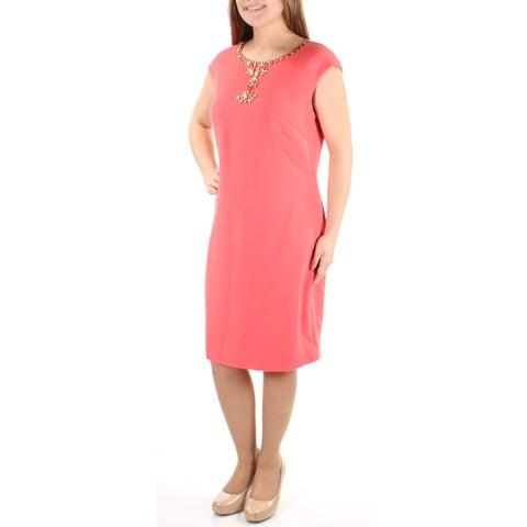 VINCE CAMUTO Womens Coral Embellished Sleeveless Jewel Neck Below The Knee Sheath Cocktail Dress Size: 8