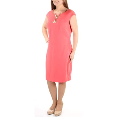 d80e99bbd9c1 VINCE CAMUTO Womens Coral Embellished Sleeveless Jewel Neck Below The Knee  Sheath Cocktail Dress Size: