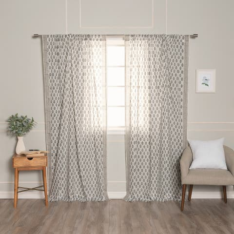 Aurora Home Medallion Cotton Voile Curtains - 84