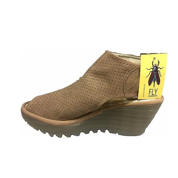 Fly Loundon Womens yahl700fly NuBuck Peep Toe Casual Platform Sandals