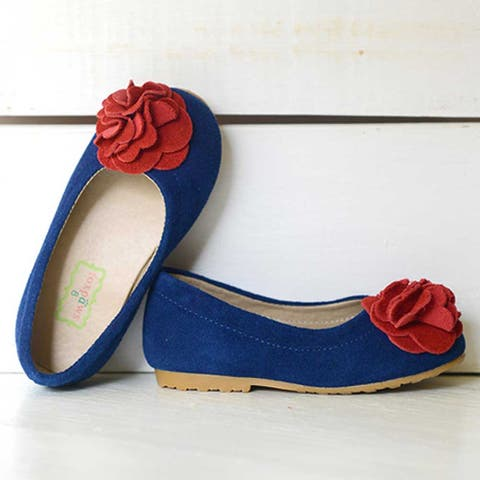 Foxpaws Blue Suede Red Rosette Boutique Kate Shoes Toddler Girls 6-10