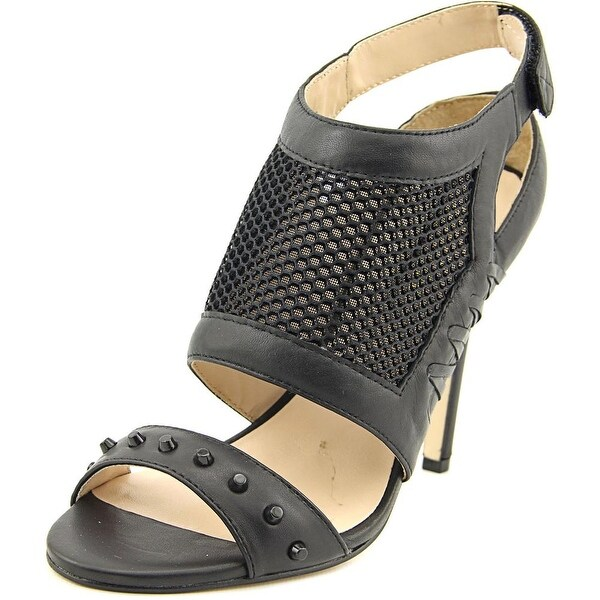 Nicole Miller Addison Women Open-Toe Leather Black Slingback Heel