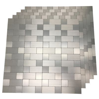"Art3d 12""x12"" Peel and Stick Metal Tile-Aluminium Silver"