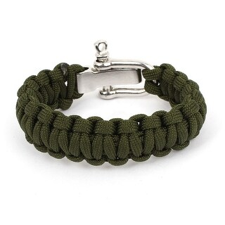 Unique Bargains Camping Army Green Nylon Weave Self-Rescue Cord Survival Bracelet