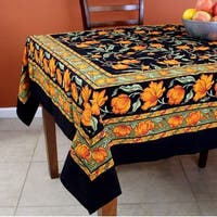 French Floral Print Cotton Tablecloth for Square Tables 60 x 60 inches Black Blue Green Amber - 60 Inches