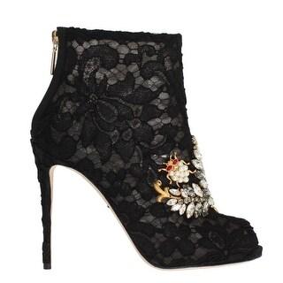 Dolce & Gabbana Dolce & Gabbana Black Crystal Lace Booties Stilettos Shoes