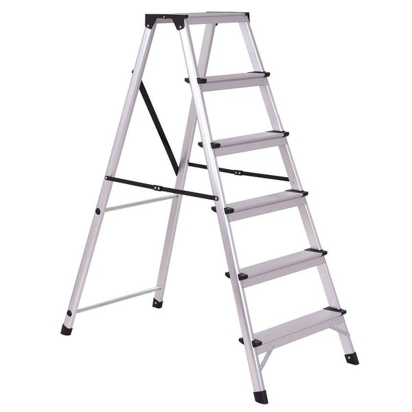 Shop Gymax Folding Aluminum Ladder 6 Step Non Slip
