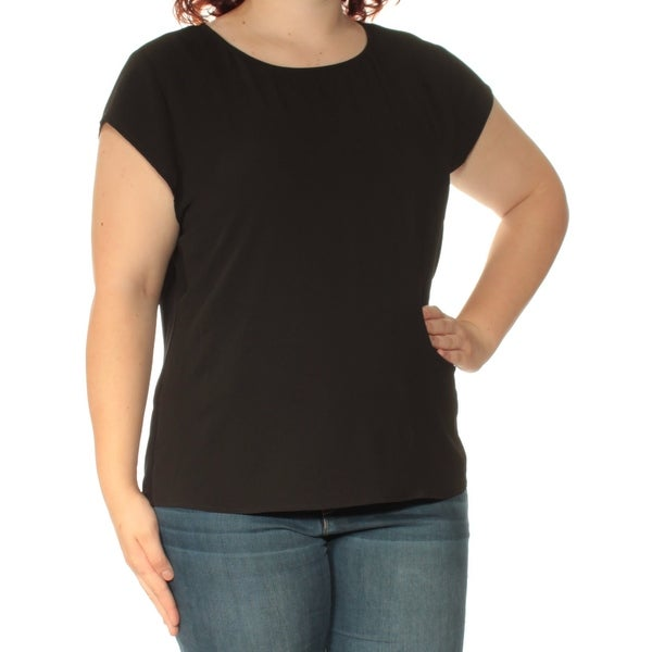 1f36e4aa42a5ed Shop VINCE CAMUTO Womens Black Short Sleeve Boat Neck Top Size  XL - On  Sale - Free Shipping On Orders Over  45 - Overstock - 23454292