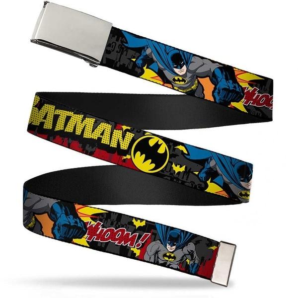 Blank Chrome Buckle Batman In Action Batman Whoom! Red Skyline Webbing Web Belt