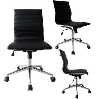 2xhome Black Sleek Swivel Eames Style Adjustable PU Leather Office Chair Mid-Back Armless Ribbed Chair