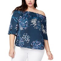 Rachel Rachel Roy Womens Plus Blouse Off The Shoulder Floral Print
