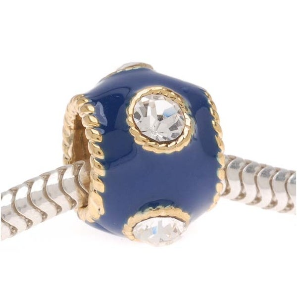22K Gold Plated Large Hole Bead With Blue Enamel - Adorned With SWAROVSKI ELEMENTS Crystals (1)