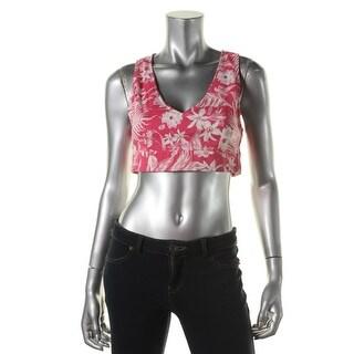 Zara Trafaluc Womens Floral Print Sleeveless Crop Top