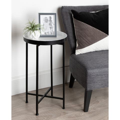 Kate and Laurel Celia Round Metal Tray/ Foldable Accent Table - 14x14x25.75