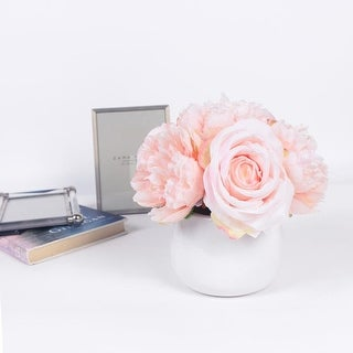 G Home Collection Light Pink Peony and Rose Mixed Flower Arrangement