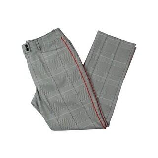 Tahari ASL Womens Petites Dress Pants Glen Plaid Piped