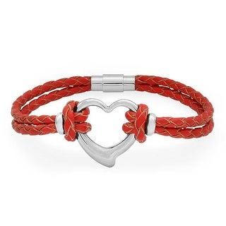 Bling Jewelry Stainless Steel Heart Red Leather Bracelet Braided Cord 8in