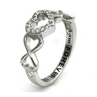 Sterling Silver Double Infinity Heart Forever Love Ring w/ Clear Cubic Zirconia