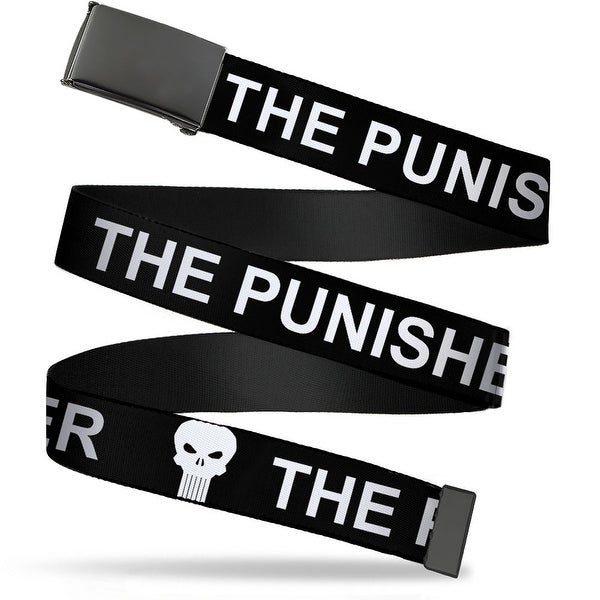 Marvel Universe Blank Black Buckle The Punisher W Logo Black White Web Belt