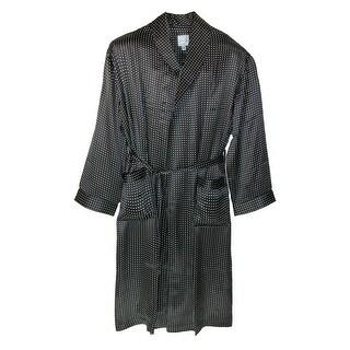Majestic International Men's Silk Shawl Robe - Black - L/XL