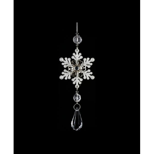 "6.5"" Ice Palace Snowflake with Teardrop Clear Gem Pendant Christmas Ornament"
