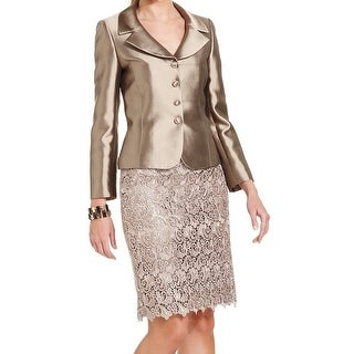 Tahari By ASL NEW Bronze Gold Womens Size 16 4-Button Lace Skirt Suit
