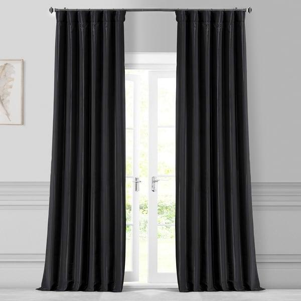 Exclusive Fabrics Solid Faux Silk Taffeta Jet Black Curtain Panel. Opens flyout.