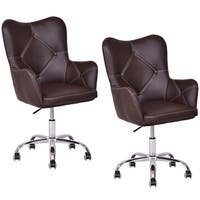 Costway Set of 2 Home Office Task Chair PU Leather Swivel Adjustable Tufted Back Rolling