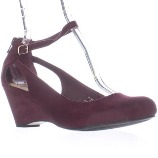 AR35 Miley Ankle-Strap Wedge Pumps, Wine