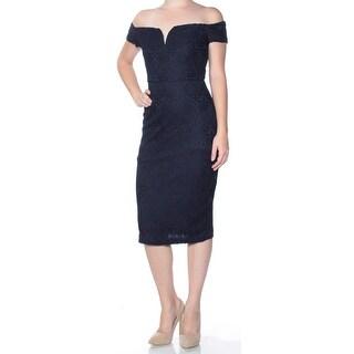Womens Navy Cap Sleeve Below The Knee Sheath Dress Size: 0