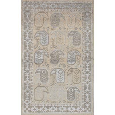 "ECARPETGALLERY Hand-knotted La Seda Yellow Silk, Wool Rug - 5'0"" x 7'10"""