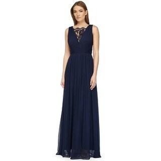 Aidan Mattox Lace Inset Pleated Chiffon Evening Gown Dress - 4