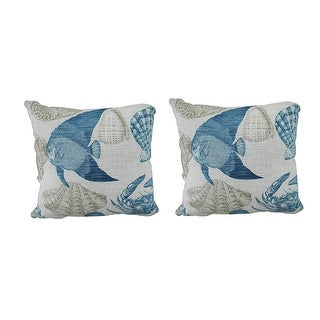Set of 2 Blue & White Sea Life Indoor/Outdoor Pillows