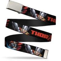 Marvel Avengers Blank Chrome  Buckle Thor Old English Face Poses Close Web Belt