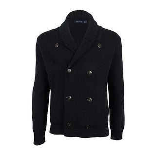 Nautica Men's Double-Breasted Cardigan - True Black