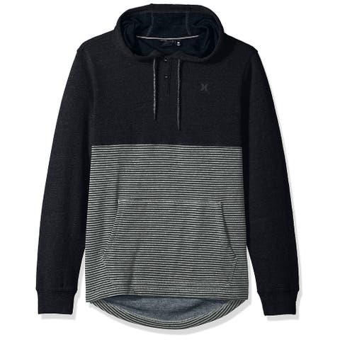 Hurley Mens Sweaters Black Size XL Hooded Striped Two-Tone Pocket