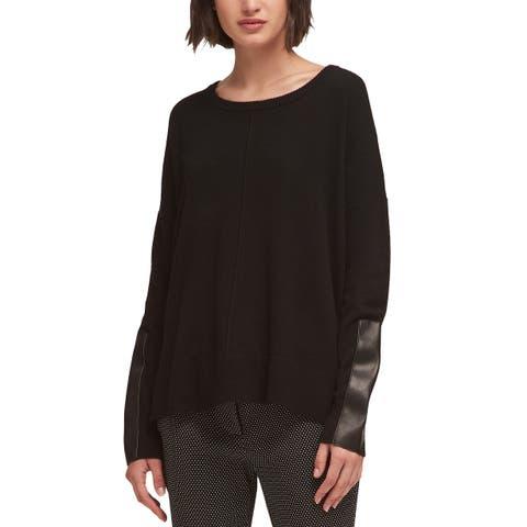 DKNY Women's New Faux-Leather-Trim Sweater (M)