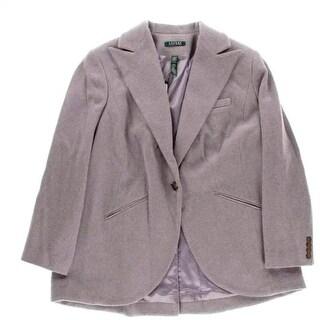 Lauren Ralph Lauren Womens Plus Wool Blend Heathered One-Button Blazer