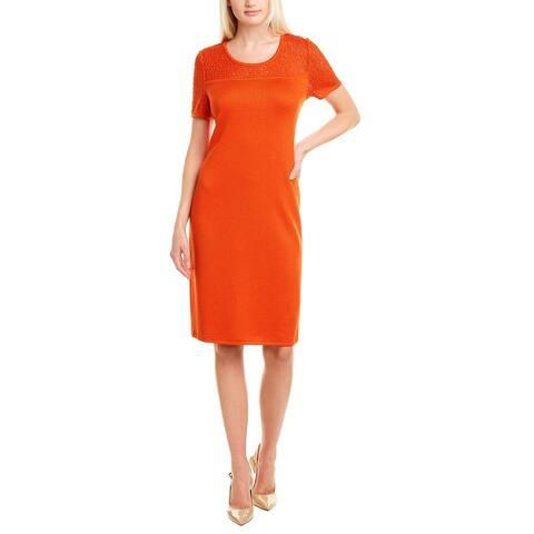 St. John Eyelet Lace Wool-Blend Shift Dress