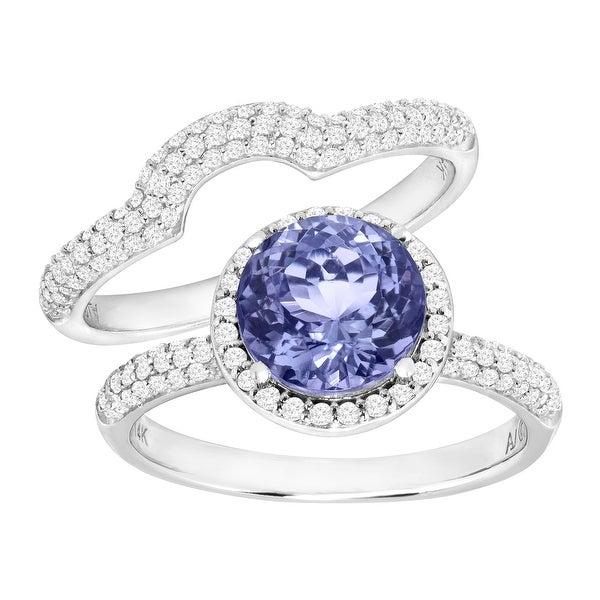 2 1/4 ct Natural Tanzanite & 5/8 ct Diamond Engagement Ring Set in 14K White Gold - Purple