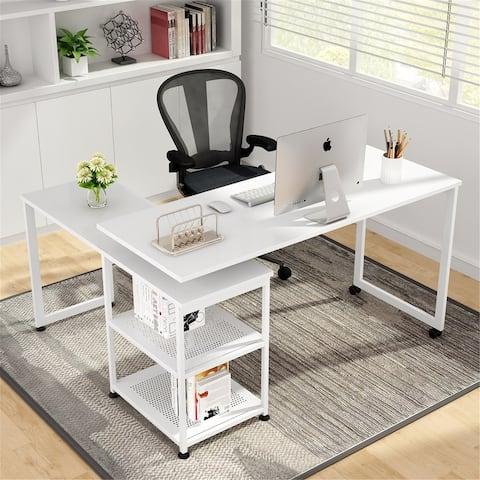 55 inch Corner Computer Desk, Reversible L-Shaped Desk 360°Rotating